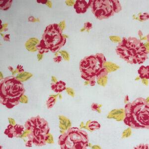 Patchwork stof i 100% bomuld, hvid med røde roser