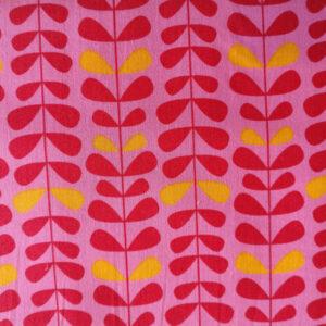 Patchwork stof i 100% bomuld, lyserød med blade