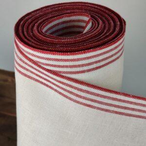 Hørbånd, 200 mm, Bleget med rød striber, 11 tr.